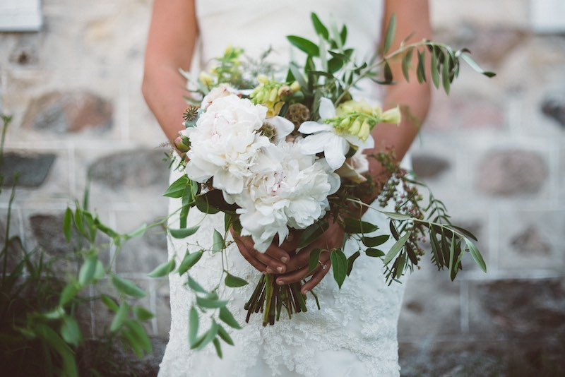 White Wedding Bouquet Cherry Basket Farm