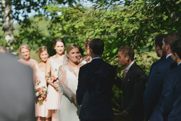 Bride and Groom First Look | Farm to Table Wedding | Epicure Catering and Cherry Basket Farm | Northern Michigan Barn Wedding Venue Omena MI
