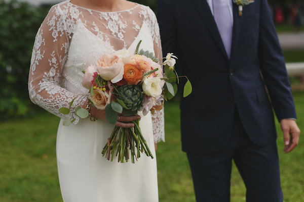 Blush Wedding Bouquet | Farm to Table Wedding | Epicure Catering and Cherry Basket Farm | Northern Michigan Barn Wedding Venue Omena MI