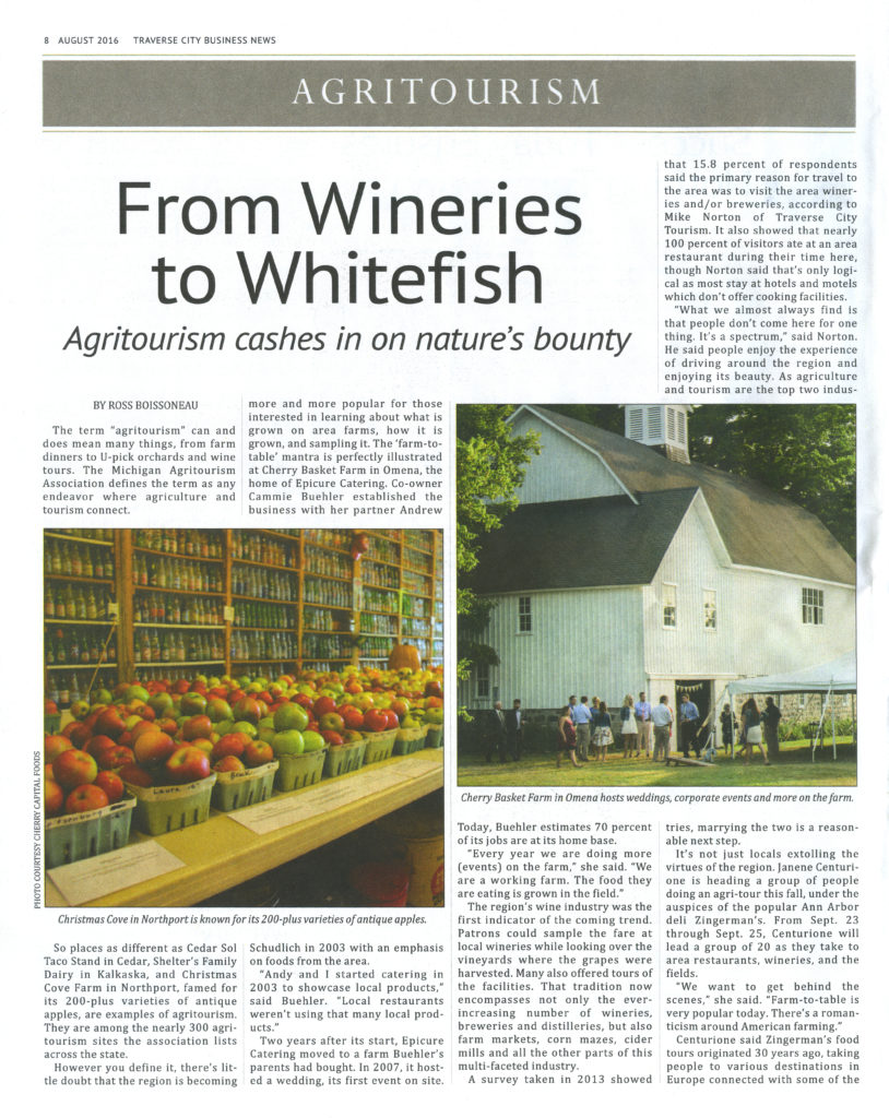 Agritourism Traverse City Business News August 2016